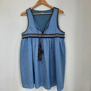 BOHO blue  print  embroidered  mini  dress